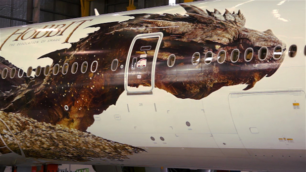 'The Hobbit: The Desolation of Smaug': Smaug is revealed on an Air New Zealand plane