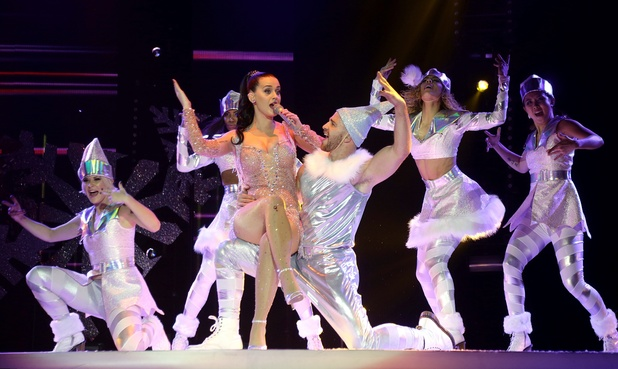 Katy Perry performing on stage during the 2013 Capital FM Jingle Bell Ball at the O2 Arena, London.