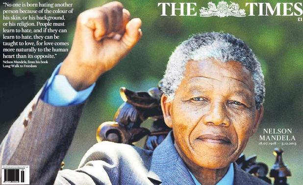 Nelson Mandela - newspaper front covers