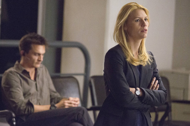 Rupert Friend as Peter Quinn and Claire Danes as Carrie Mathison in Homeland: 'Good Night'
