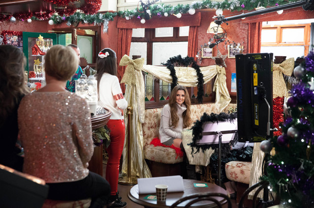 Cheryl Cole films her Corrie sketch at The Rovers