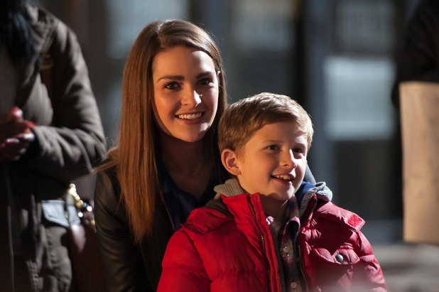 Anna Passey and Charlie Behan behind the scenes at Hollyoaks