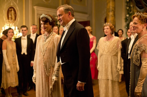 Elizabeth McGovern as Cora and Hugh Bonneville as Robert, Earl of Grantham in Downton Abbey Christmas Special