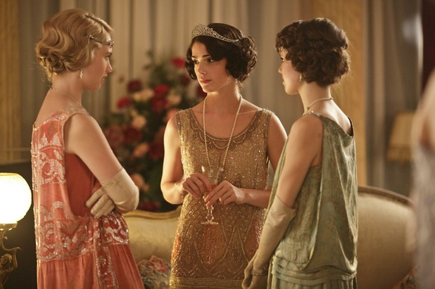 Lily James as Rose, Janet Montgomery as Freda and Poppy Drayton as Madeline in Downton Abbey Christmas Special