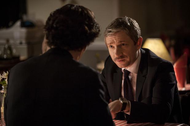 Benedict Cumberbatch and Martin Freeman in Sherlock Series 3