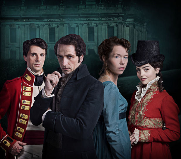 Matthew Goode as Wickham, Matthew Rhys as Darcy, Anna Maxwell-Martin as Elizabeth and Jenna Coleman as Lydia Wickham in Death Comes to Pemberley