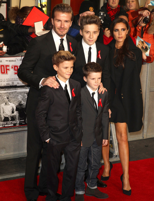 David Beckham with wife Victoria, and three sons Brooklyn, Romeo and Cruz