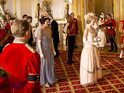 The episode takes place in Buckingham Palace for Rose's 'coming out'.