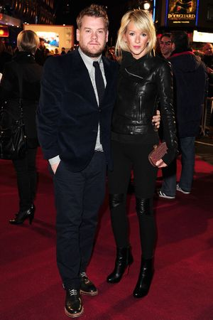 James Corden, Julia Carey attending the premiere of Anchorman 2: The Legend Continues, at the Vue Cinema in Leicester Square, London