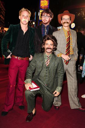 Francis Boulle, Jamie Laing, Spencer Matthews and Oliver Proudlock from Made in Chelsea attending the premiere of Anchorman 2: The Legend Continues, at the Vue Cinema in Leicester Square, London