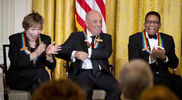 Shirley MacLaine, Billy Joel and Herbie Hancock at the Kennedy Center Honors in the East Room of the White House