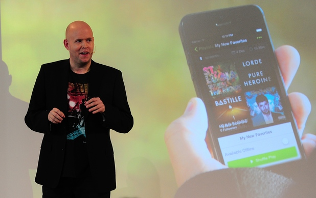 Spotify founder and CEO Daniel Ek at a New York City press conference, December 11, 2013