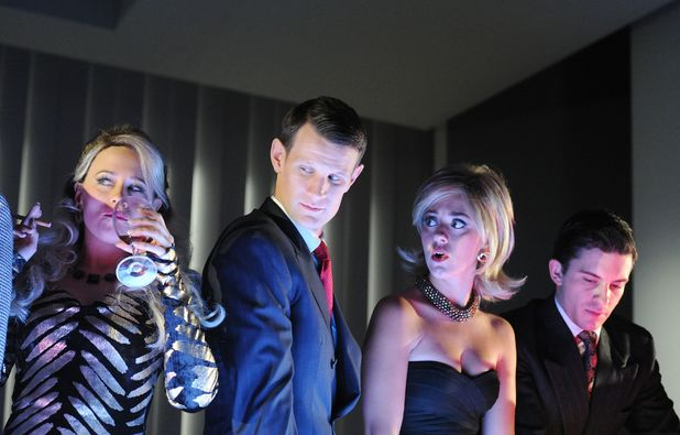 'American Psycho' play at the Almeida Theatre, London, Britain - 10 Dec 2013 Centre Matt Smith as Patrick Bateman 10 Dec 2013