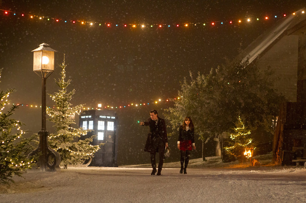 Matt Smith as The Doctor and Jenna-Louise Coleman as Clara in the Doctor Who Christmas special: 'The Time of the Doctor'