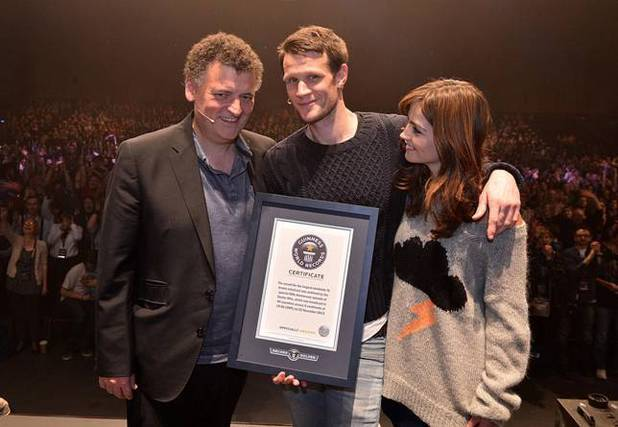 Steven Moffat, Matt Smith and Jenna Coleman at the official 'Doctor Who' Celebration.