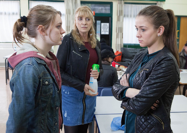 Sophie calls into the soup kitchen where Maddie the homeless girl admits stealing Sally's handbag.