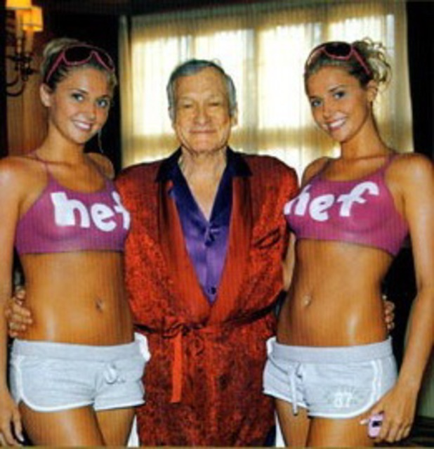 Hugh Hefner, Kristina and Karissa Shannon, Christmas card