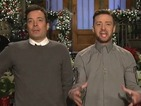 Jimmy Fallon, Justin Timberlake get in holiday spirit for SNL– video