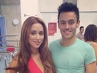 The Saturdays star poses for a picture with diver Tom Daley during training.