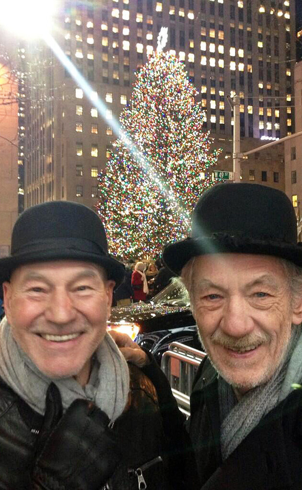 Patrick Stewart and Ian McKellen at New York's Christmas tree