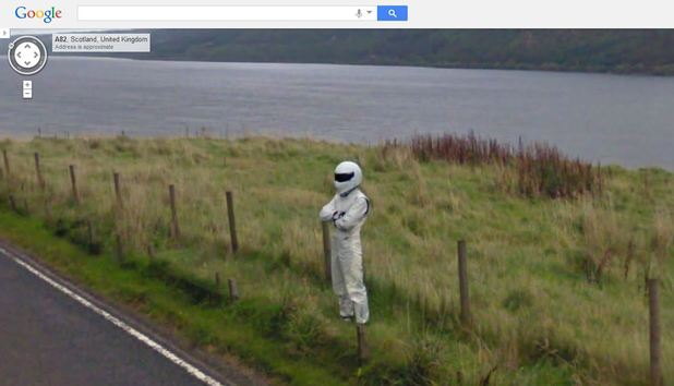 Top Gear's The Stig on Google Maps Street View