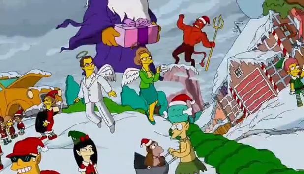 Mrs. Edna Krabappel appears in The Simpsons Christmas opening credits