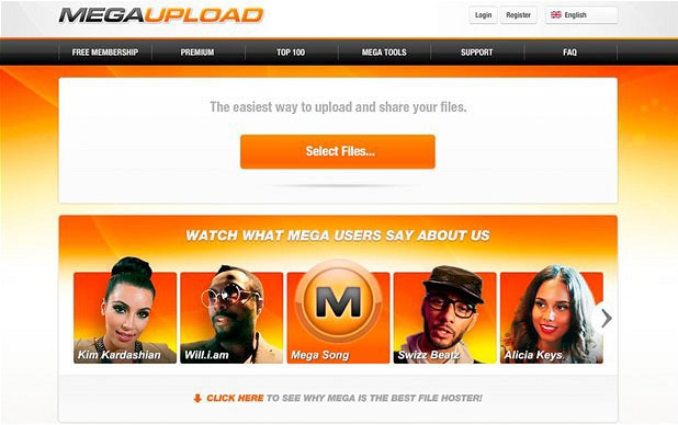 Megaupload homepage
