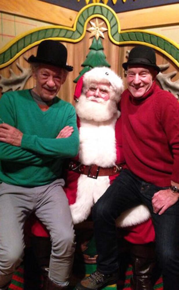 Patrick Stewart and Ian McKellen visit Santa Claus
