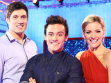 Splash 2014: Tom Daley with presenters Vernon Kaye and Gabby Logan