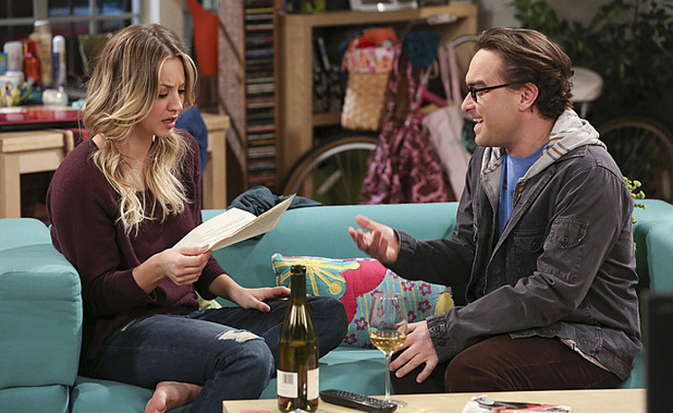 Kaley Cuoco as Penny & Johnny Galecki as Leonard in The Big Bang Theory: 'The Hesitation Ramification'