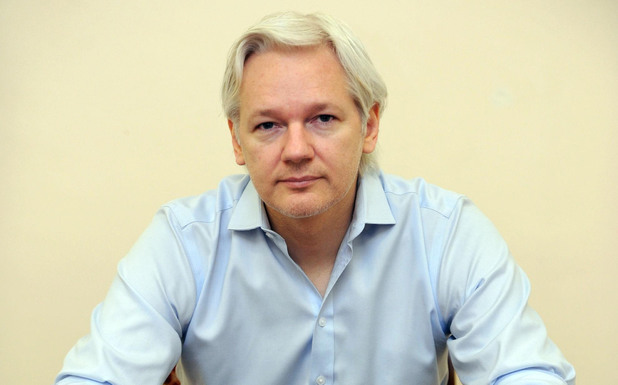 Julian Assange speaking to the media inside the Ecuadorian Embassy in London