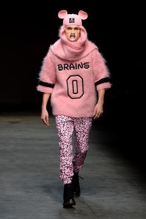 A model wears a creation by Bobby Abley at the MAN fashion show, held at the Old Sorting Office in London as part of London Collections: Men AW14.