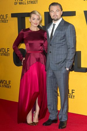 'The Wolf of Wall Street' film premiere, London, Britain - 09 Jan 2014 Margot Robbie and Leonardo DiCaprio