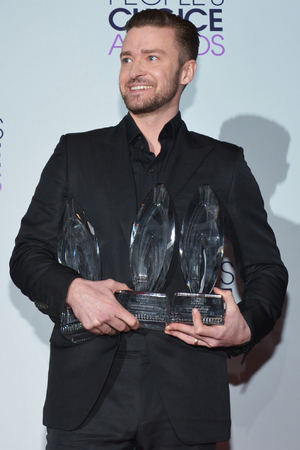 Justin Timberlake, winner of the Favorite Album, Favorite Male Artist and Favorite R&B Artist awards at the 40th annual People's Choice Awards