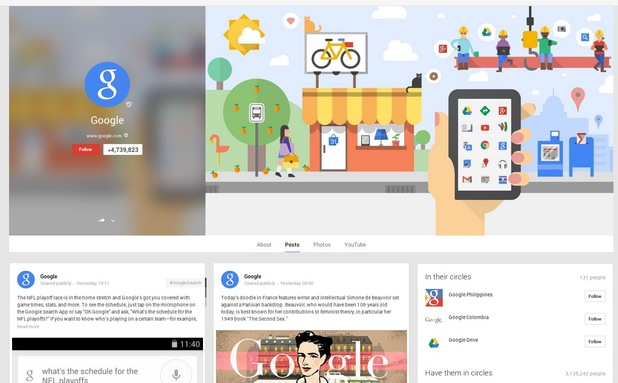 Google page on Google+