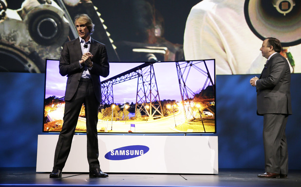 Michael Bay during the Samsung presentation at CES 2014