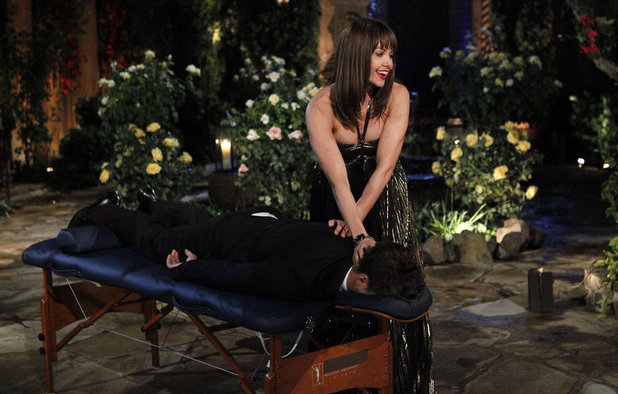 The Bachelor Season 18 premiere: Amy J. giving Juan Pablo a massage