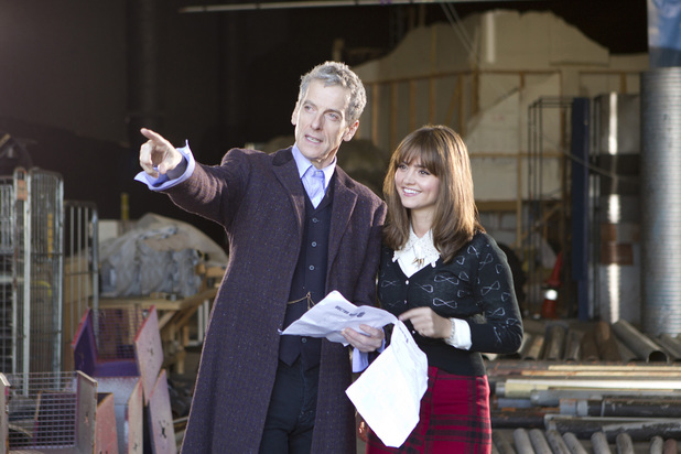 Peter Capaldi and Jenna Coleman on the set of Doctor Who