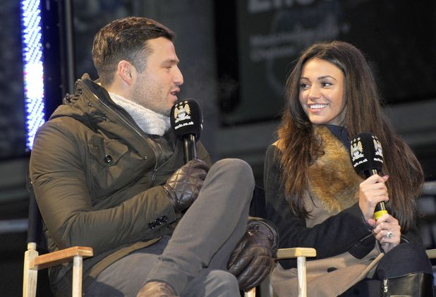 Michelle Keegan and Mark Wright interviewed before Manchester City v West Ham United football match, Manchester, Britain - 08 Jan 2014