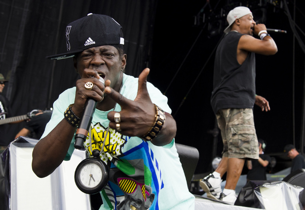 Flavor Flav, left, and Chuck D from the group Public Enemy