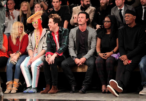 the Superdry AW14 catwalk event as part of London Collections: Men Samuel L Jackson, Luke Evans, Nick Grimshaw