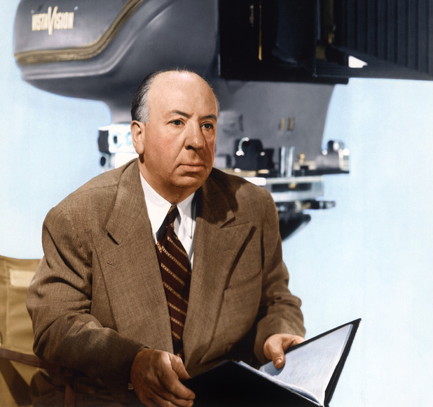 Alfred Hitchcock, photographed in 1958, with a VistaVision camera