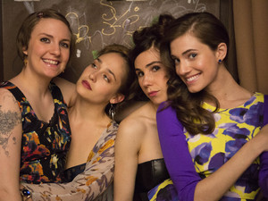 Lena Dunham as Hannah Horvath, Jemima Kirke as Jessa Johansson, Zosia Mamet as Shoshanna Shapiro & Allison Willliams as Marnie Michaels in season 3 of Girls
