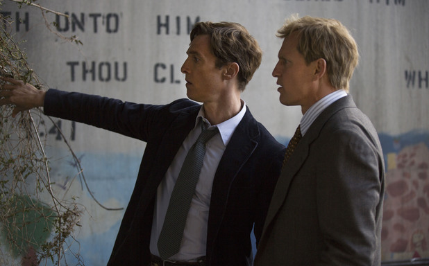 Matthew McConaughey as Rustin Cohle & Woody Harrelson as Martin Hart in True Detective