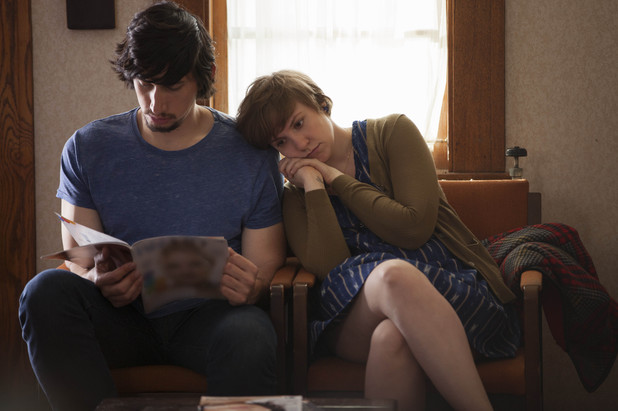 Adam Driver as Adam Sackler & Lena Dunham as Hannah Horvath in season 3 of Girls