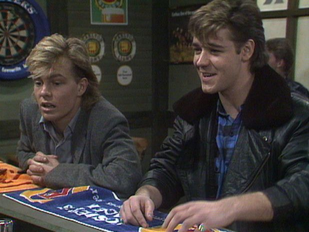 'Neighbours' TV Soap Jason Donovan as Scott Robinson Russell Crowe as Kenny Larkin 1980s