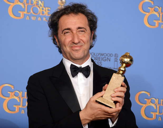 Paolo Sorrentino with a Golden Globe award