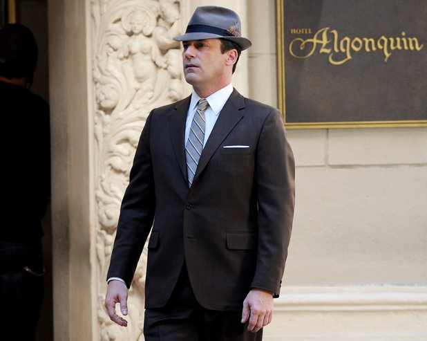 Jon Hamm filming for season 7 of Mad Men in downtown Los Angeles