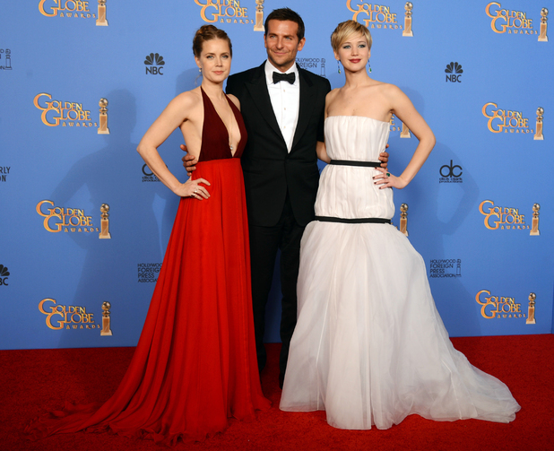 Amy Adams, Bradley Cooper and Jennifer Lawrence at the Golden Globe awards