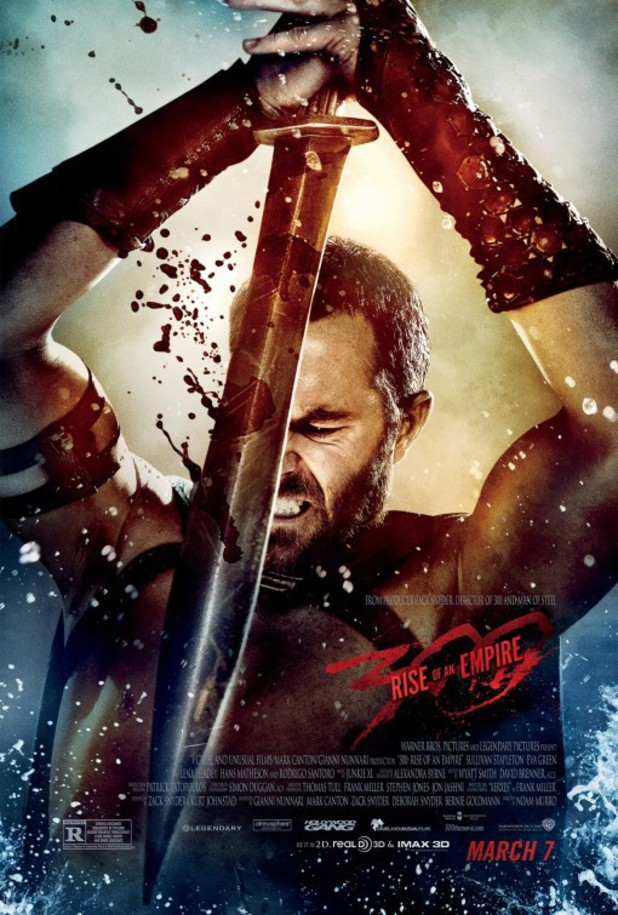 Sullivan Stapleton wields a bloody sword in new 300: Rise of an Empire poster.